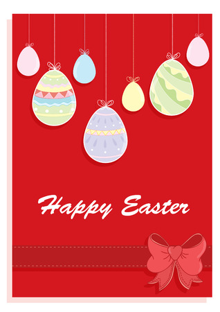 eater: Happy eater card with colored eggs and ribbon on a red background Illustration
