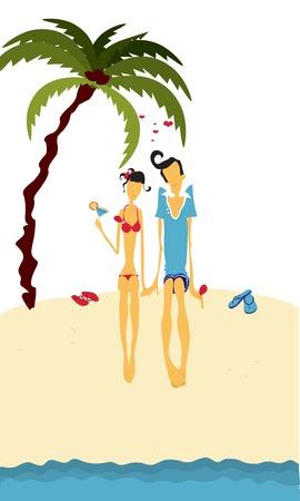 dattelpalme: Paar bei den Ausgaben Sommerferien Liebe am Strand Illustration