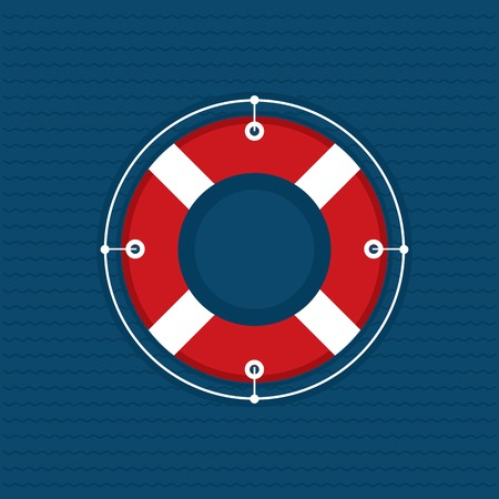 Lifebuoy icon on navy and wavy background Vector