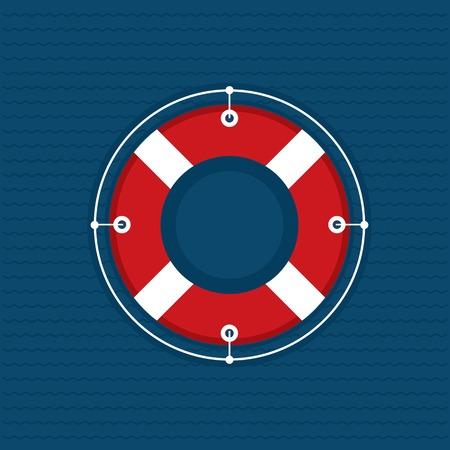 Lifebuoy icon on navy and wavy background Illustration