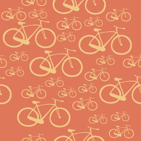 Seamless pattern with bicycles of different sizes Vector