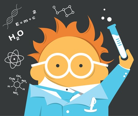 Crazy scientist in glasses with a bulb Vector