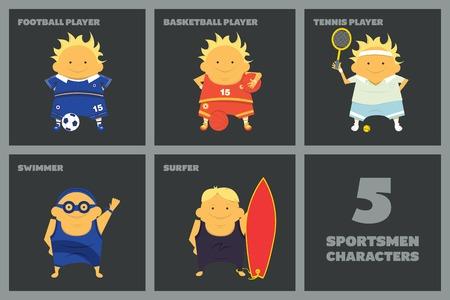 Sportsmen characters football player, basketball player, tennis player, swimmer, surfer Vector