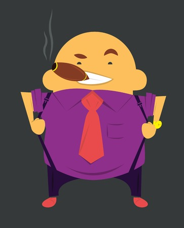 Boss or businessman with cigar in tie and shirt smokes cigar Vector