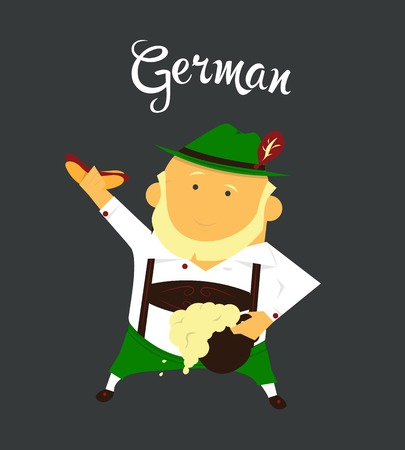 citizen: German man or character, cartoon, citizen of Germany in national clothing