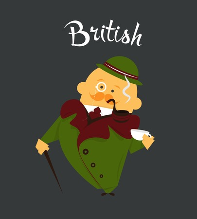 British man or character, cartoon, citizen of Great Britain in tweed suit and hat, tobacco pipe Vector