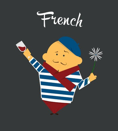 French man cartoon character, citizen, France in beret and sailor suit with glass of wine, a flower