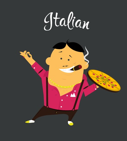 obnoxious: Italian man cartoon character, citizen of the Italy with cigar and pizza Illustration