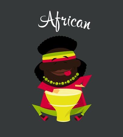 rasta hat: African black or Negro man, character, Africa inhabitant Illustration