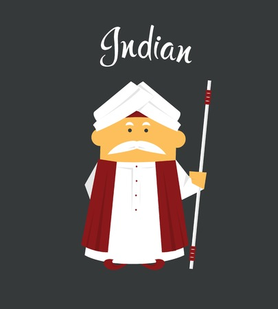 Indian man or cartoon charachter in turban with crook or stick in dhoti Kurta
