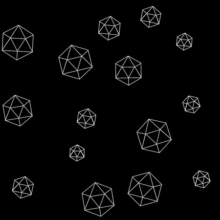 icosahedron: Geometric simple monochrome minimalistic pattern of hexagon or icosahedron  shapes