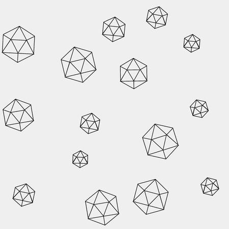 icosahedron: Geometric simple monochrome minimalistic pattern of hexagon or icosahedron  shapes