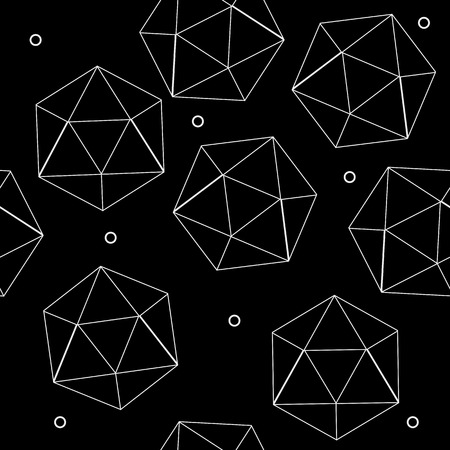 icosahedron: Geometric seamless simple monochrome minimalistic pattern of hexagon or icosahedron  shapes