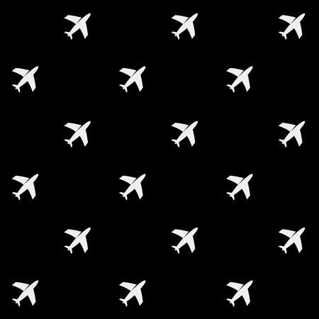 Geometric simple monochrome minimalistic vector holiday pattern, planes Vector