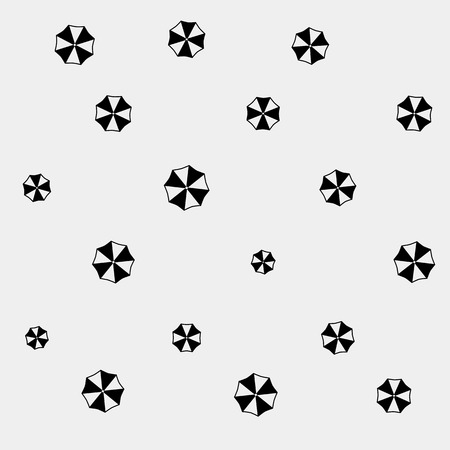 Geometric simple monochrome minimalistic vector holiday pattern, umbrellas Vector