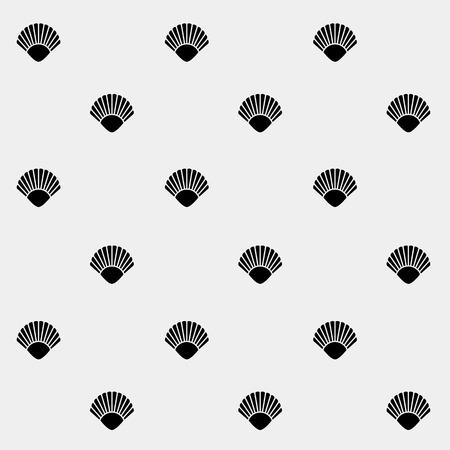 mollusk: Geometric simple monochrome minimalistic vector holiday pattern, shell