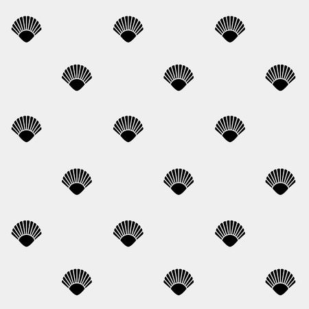 Geometric simple monochrome minimalistic vector holiday pattern, shell