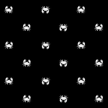underwater background: Geometric simple monochrome minimalistic vector marine pattern, crabs