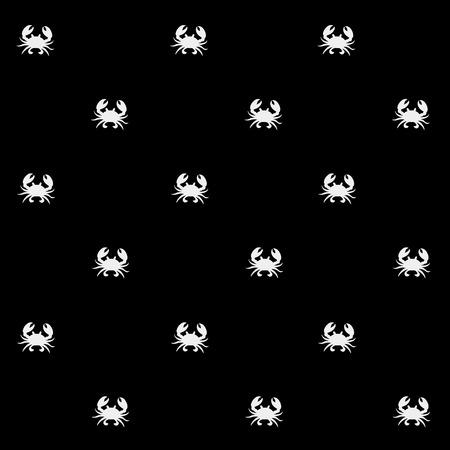 pond life: Geometric simple monochrome minimalistic vector marine pattern, crabs