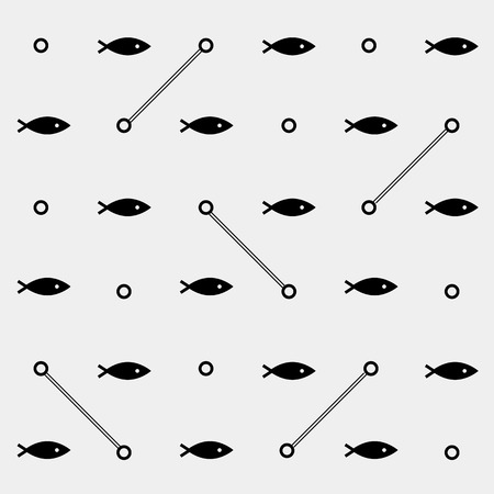 pond life: Geometric simple monochrome minimalistic vector marine pattern, fish