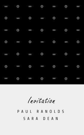 招待カードやチケット、白黒の幾何学模様のテンプレート。日付、チケット、記念日、誕生日カード、招待状に最適です。 写真素材 - 43190572