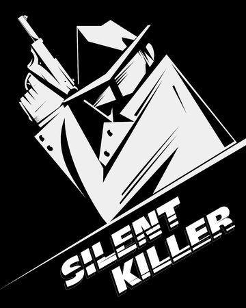 sicario: Asesino silencioso, asesino a sueldo o detective, lleva gafas de sol, sombrero y gabardina, tiene un arma de fuego. Cuadro blanco y negro, estilo noir, cartel, firmar el uso. Vectores