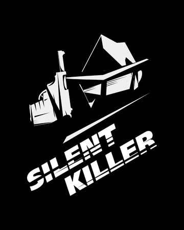 hitman: Silent killer, hitman or detective, wears sunglasses, hat and raincoat, holds a handgun. Black and white picture, noir style, poster, sign usage.