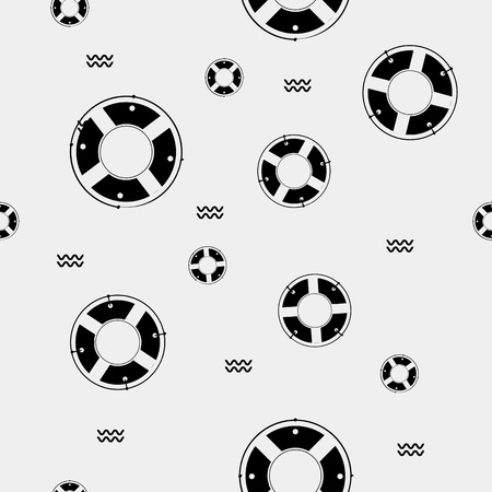 survive: Seamless vector pattern with lifebuoys. Seamless pattern can be used for wallpaper, pattern fills, web page background, surface textures.