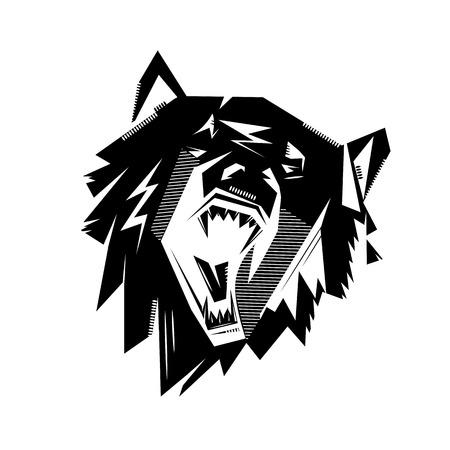 tatoo: Black and white monochrome emblem, symbol,  sign, badge, sticker, insignia, poster of a roaring bear, wolf, dog. Identity, T-shirt prints usage