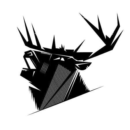 murderer: Black and white monochrome emblem, symbol, logotype, sign, badge, sticker, poster of a bear, dog, wolf. Identity, T-shirt, textile, cloth, apparel, tattoo, print usage Illustration