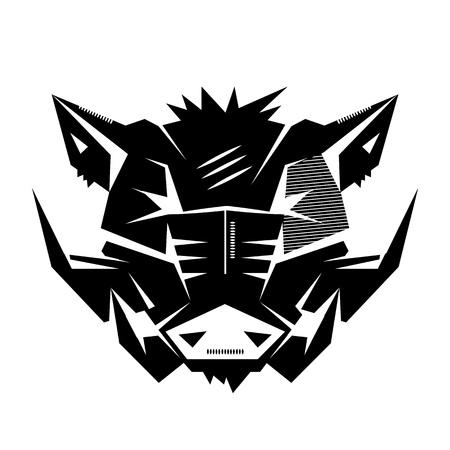 Emblème noir et blanc monochrome, symbole, logotype, signe, badge, autocollant, affiche d'un sanglier, porc, la peste. Identité, T-shirt, textile, tissu, vêtements, tatouage, utilisation de l'imprimante Logo