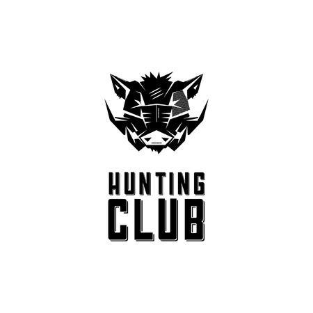 hog: Black and white monochrome emblem, symbol, logotype, sign, badge, sticker, poster of a wild boar, pig, hog, swine. Identity, T-shirt, textile, cloth, apparel, tattoo, print usage