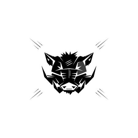 wild hog: Black and white monochrome emblem, symbol, logotype, sign, badge, sticker, poster of a wild boar, pig, hog, swine. Identity, T-shirt, textile, cloth, apparel, tattoo, print usage
