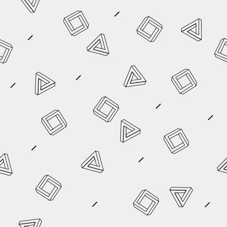 forme: géométrique seamless simple, monochrome motif minimaliste de motif de formes impossibles, des rectangles, des triangles