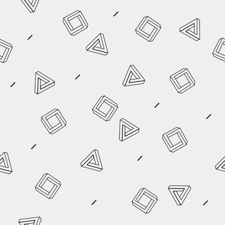 simple background: Pattern geometric seamless simple monochrome minimalistic pattern of impossible shapes, rectangles, triangles