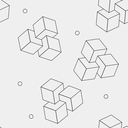 minimalistic: Geometric, seamless, simple, monochrome, minimalistic, pattern of impossible cube shapes