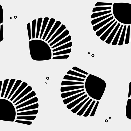 Geometric simple monochrome minimalistic vector holiday pattern, shell