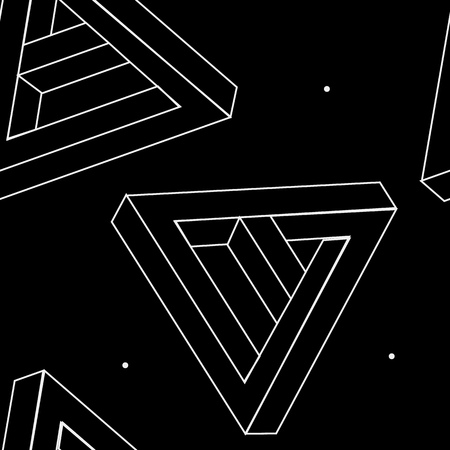 impossible: Pattern geometric seamless simple monochrome minimalistic pattern of impossible shapes, triangles