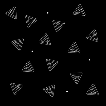 trickery: Pattern geometric seamless simple monochrome minimalistic pattern of impossible shapes, triangles