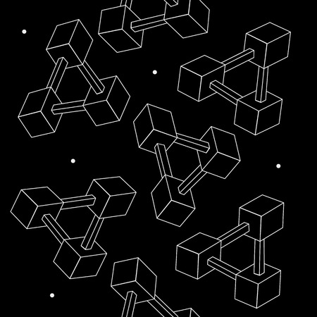 imagine a science: Pattern geometric seamless simple monochrome minimalistic pattern of impossible shapes, rectangles Illustration