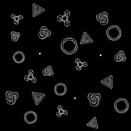 trickery: Pattern geometric seamless simple monochrome minimalistic pattern of impossible shapes, rectangles, triangles, rounds