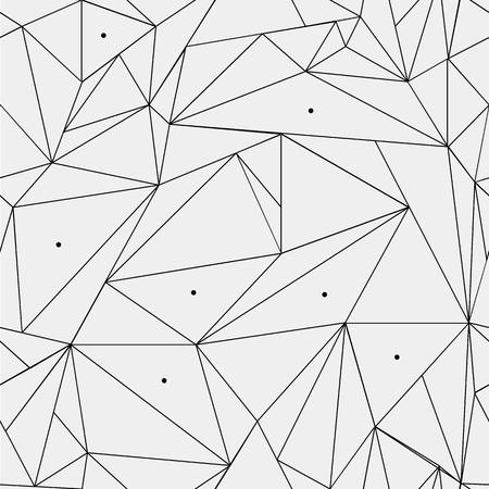 幾何学的な単純な黒と白のミニマルなパターン、三角形やステンド グラスの窓。テクスチャや背景の壁紙として使用できます。