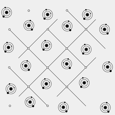 orbits: Geometric simple black and white minimal pattern, space, sun, solar system with orbits
