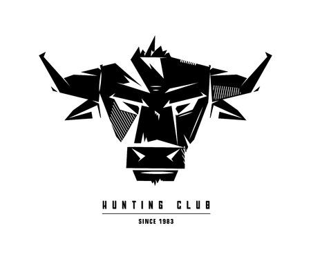 agressive: Black and white monochrome bull emblem