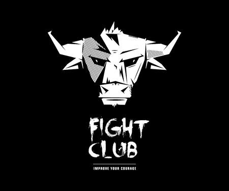 Black and white monochrome bull emblem