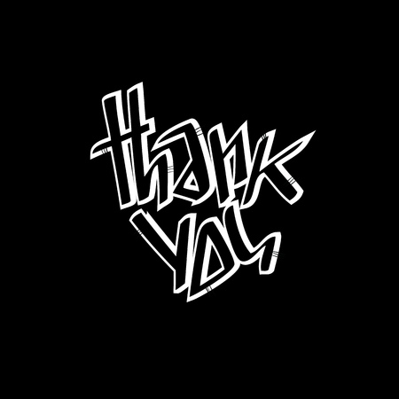 stigma: Thank you lettering.  Can be used as postcards, stigma, pattern Illustration