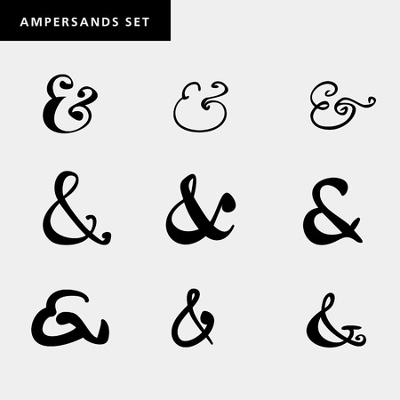 dingbat: Set of decoration ampersands for letters, invitation. Hand drawn type.