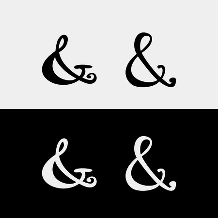 orthographic symbol: Set of decoration ampersands for letters, invitation. Hand drawn type.