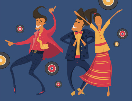 retro party: Hipsters retro party, geometric illustration, minimalistic, dancing, having fun