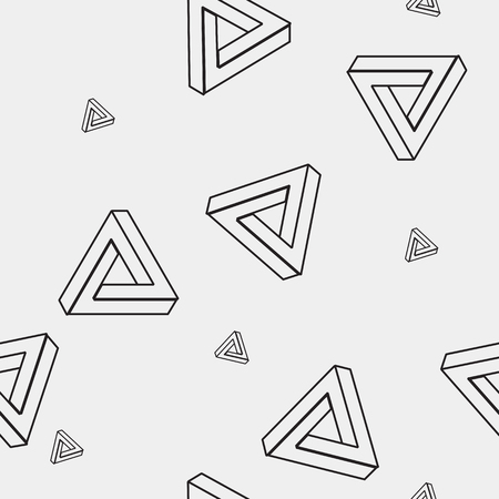 imagine a science: Pattern geometric seamless simple monochrome minimalistic pattern of impossible shapes, rectangles, triangles